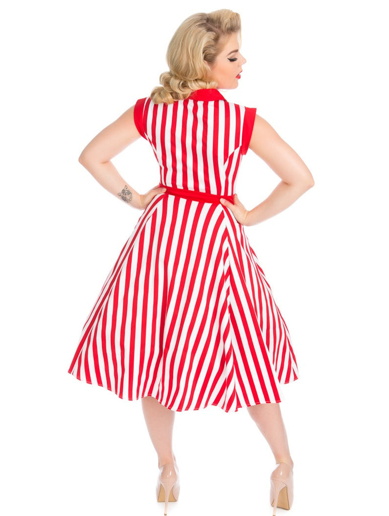 """Final Sale"" Striped Tea Dress in Red and White"
