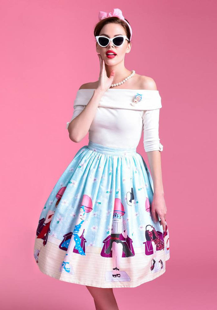 """Final Sale"" 1950s Pastel Beauty Salon High Waist Swing Skirt"