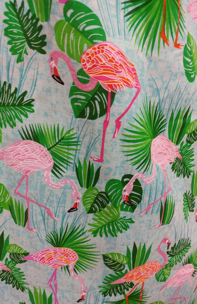 Retro Flamingo Palms A-Line Skirt