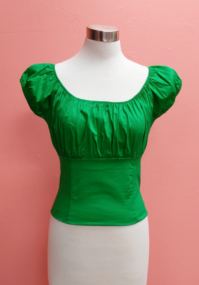 Rosarito PinUp Peasant Top, in Palm Green