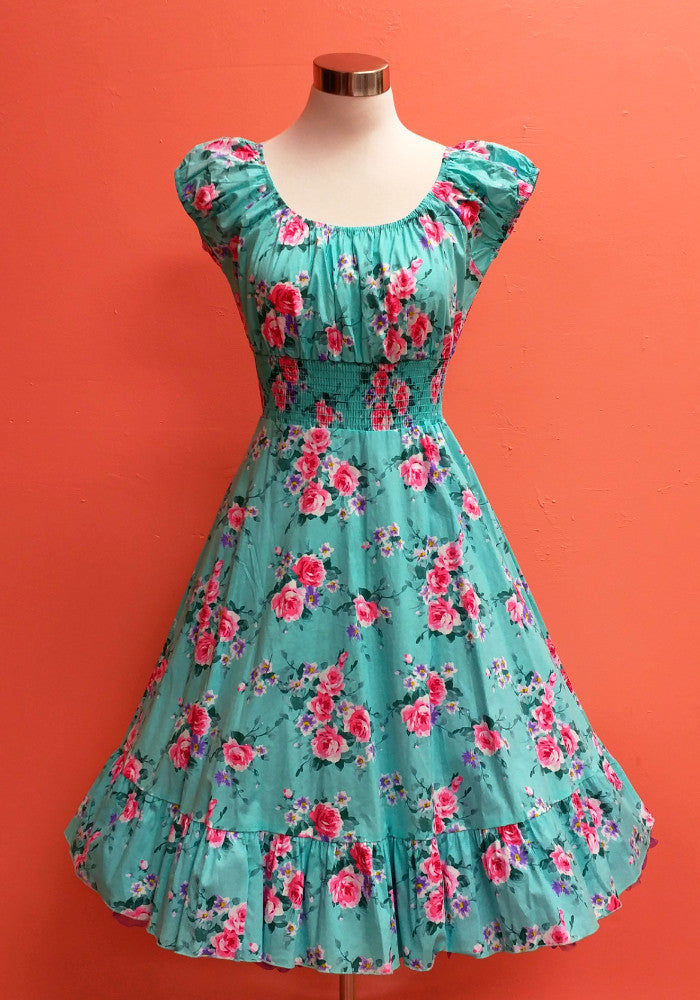 """Final Sale"" Spring Blossom Rosarito PinUp Peasant Dress in Blue"