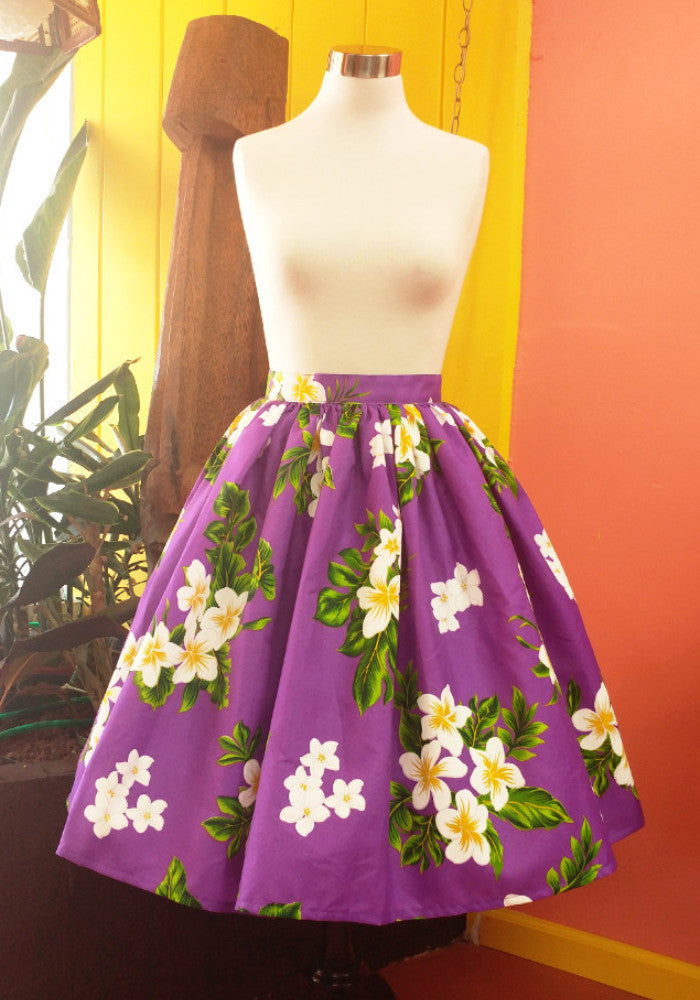 Plumeria Palm Deluxe Beverly Gathered Skirt in Purple
