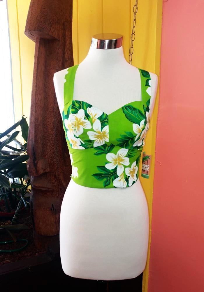 """Final Sale"" Plumeria Palms Bungalow Top in Chartreuse Green"