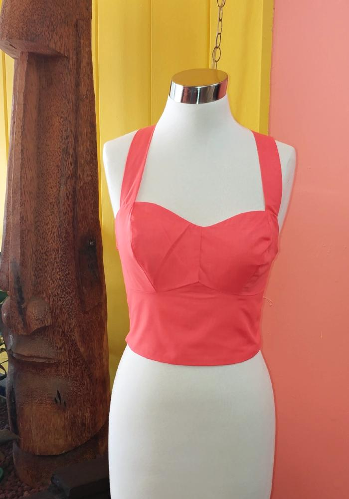 """Final Sale"" Solid Bungalow Top in Coral"