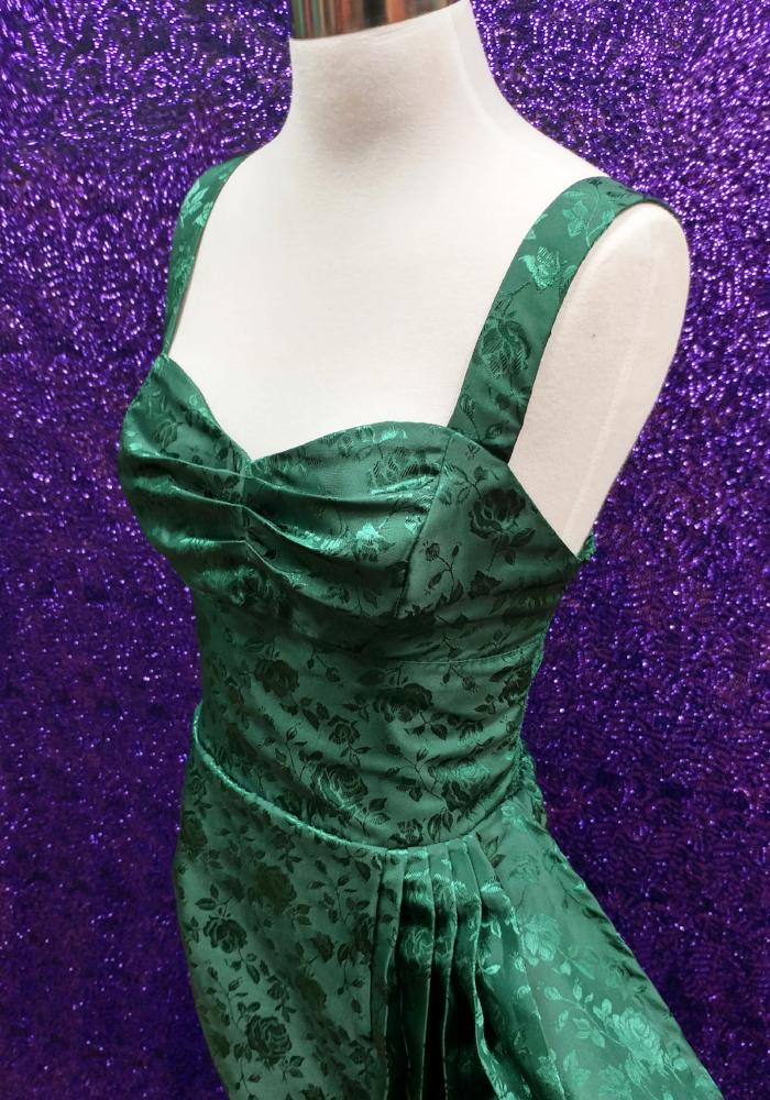 """Final Sale, DAMAGED"" Temptress Rose Sonia Sarong Dress in Dark Emerald Green (BROKEN ZIPPER)"