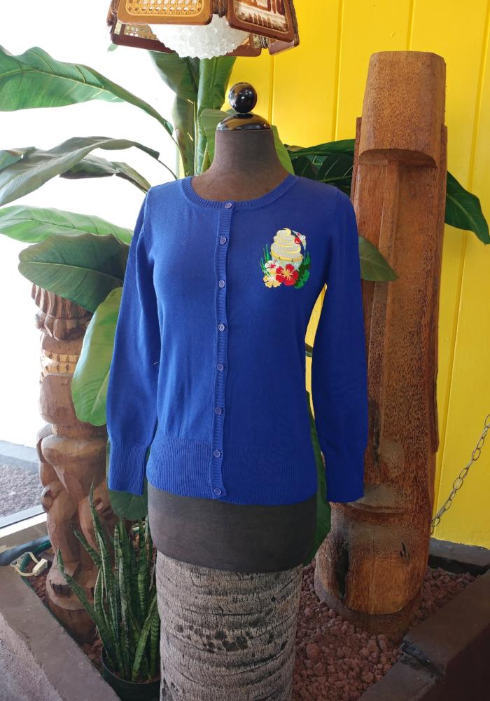 "Tropical Treat ""Dole Whip"" Embroidered Cardigan in Royal Blue"