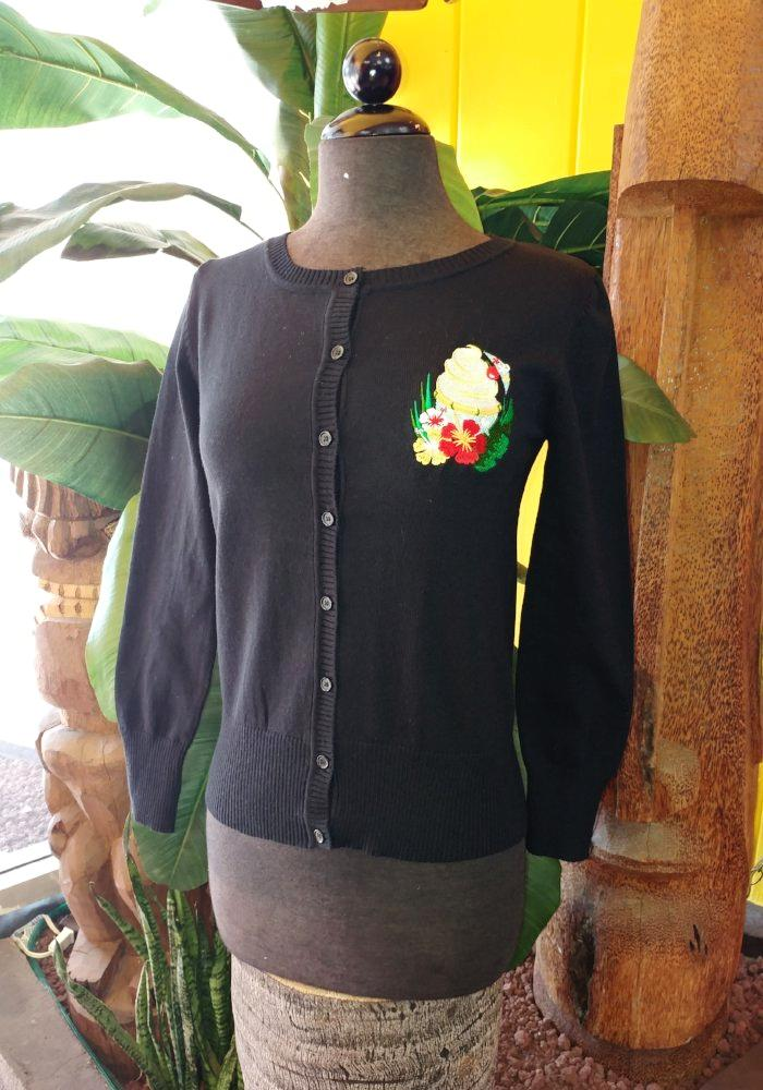 "Tropical Treat ""Dole Whip"" Embroidered Cardigan in Black"