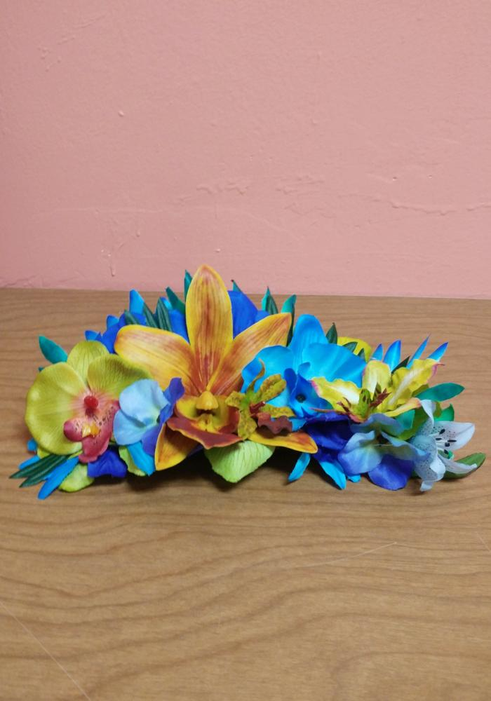 Tropical Jungle Queen Floral Half Crown, in Blue & Green
