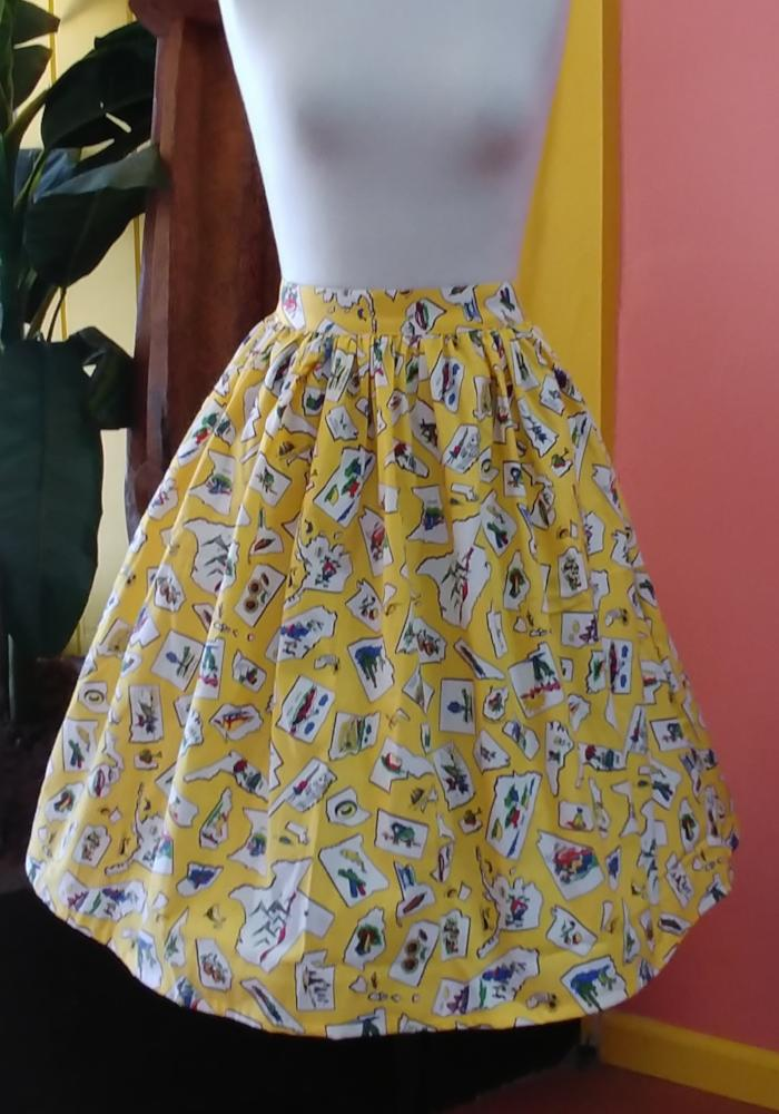 """I've Been Everywhere"" Beverly Gathered Skirt"