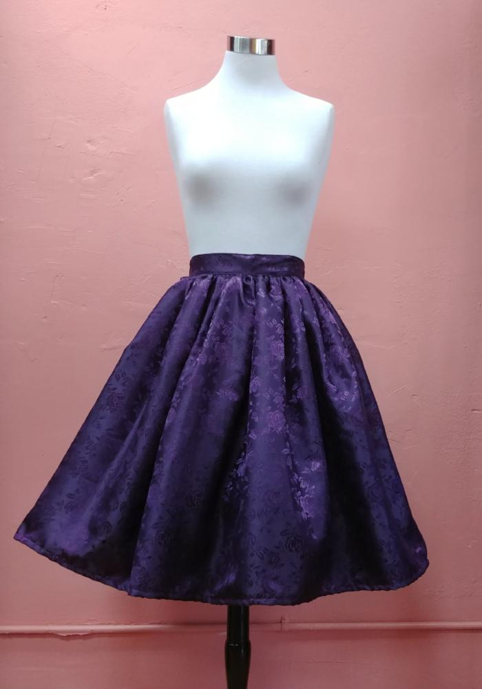 """Final Sale"" Temptress Rose Deluxe Beverly Gathered Skirt in Eggplant"