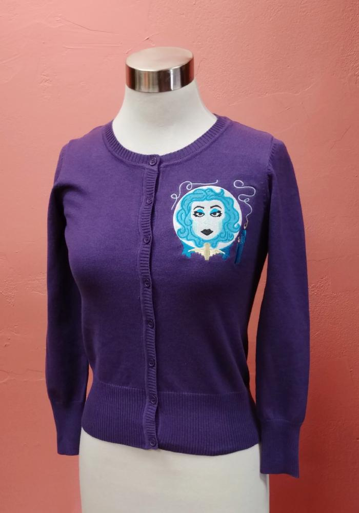 "Haunted Fortune ""Madame Leota"" Embroidered Cardigan in Purple"