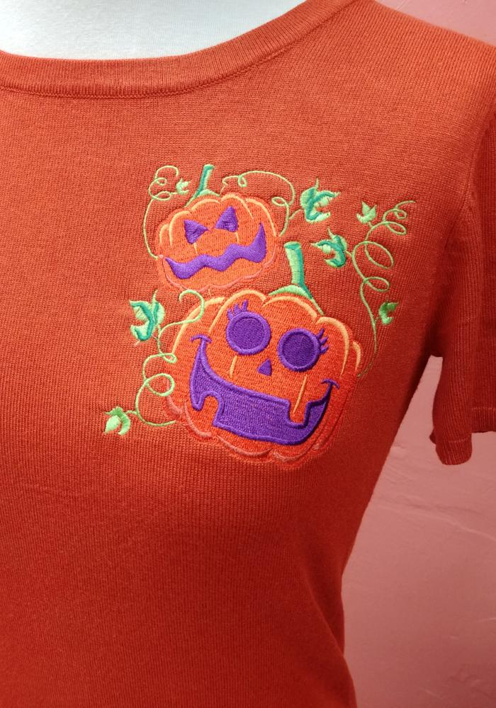 Retro Halloween Pumpkin Patch Embroidered Pullover Sweater in Orange