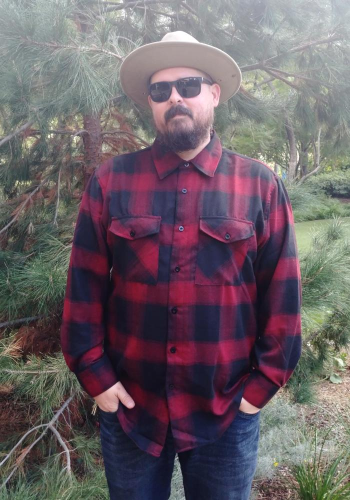 """Final Sale"" Men's Plaid Flannel Shirt in Red & Black"