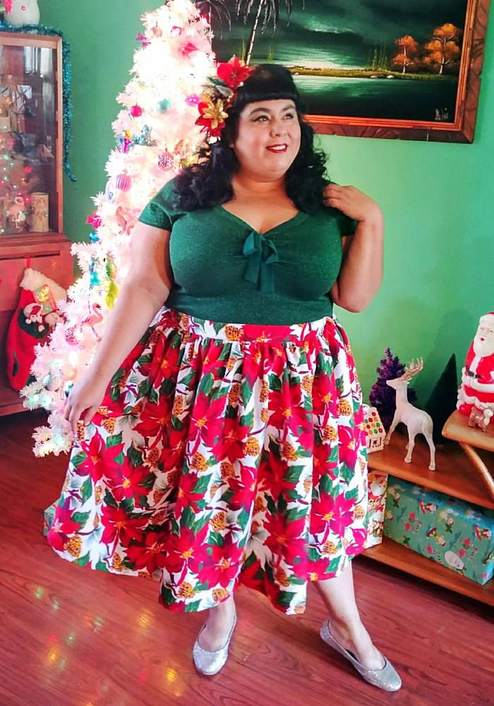 """Final Sale"" Poinsettia Perfection Christmas Beverly Gathered Skirt"