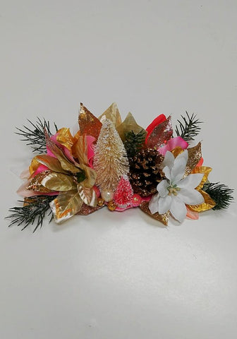 Forest Fantasy Holiday Floral Half Crown, in Blue & Silver