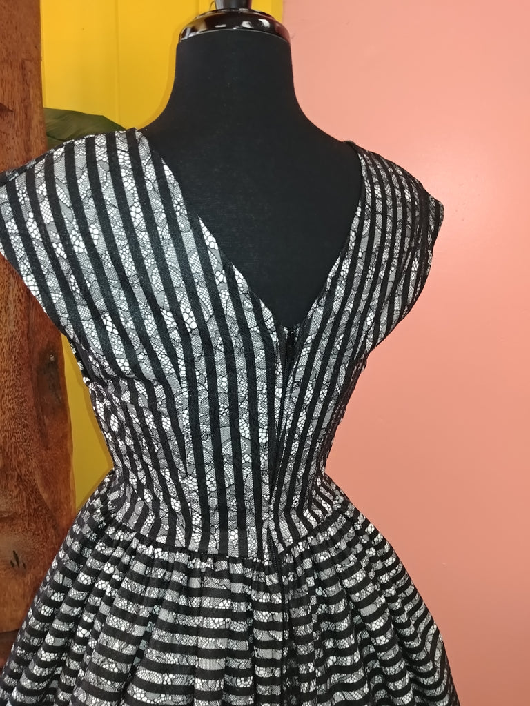 """Final Sale""  Lace Showtime Stripes Jolene Patio Dress in Black & White (Plus Size Sample Run)"