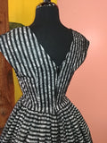 Lace Showtime Stripes Jolene Patio Dress in Black & White
