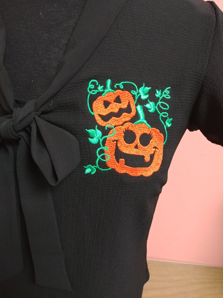 Retro Halloween Pumpkin Patch Embroidered Veronica Pussycat Bow Blouse in Black