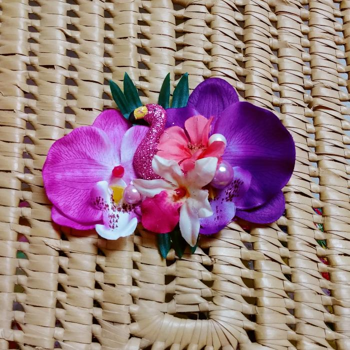 Tropical Flamingo Orchid Flower Clip in Purple & Fuchsia