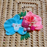 Tropical Flamingo Orchid Flower Clip in Coral & Aqua