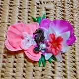Tropical Seahorse Orchid Flower Clip in Pink & Coral