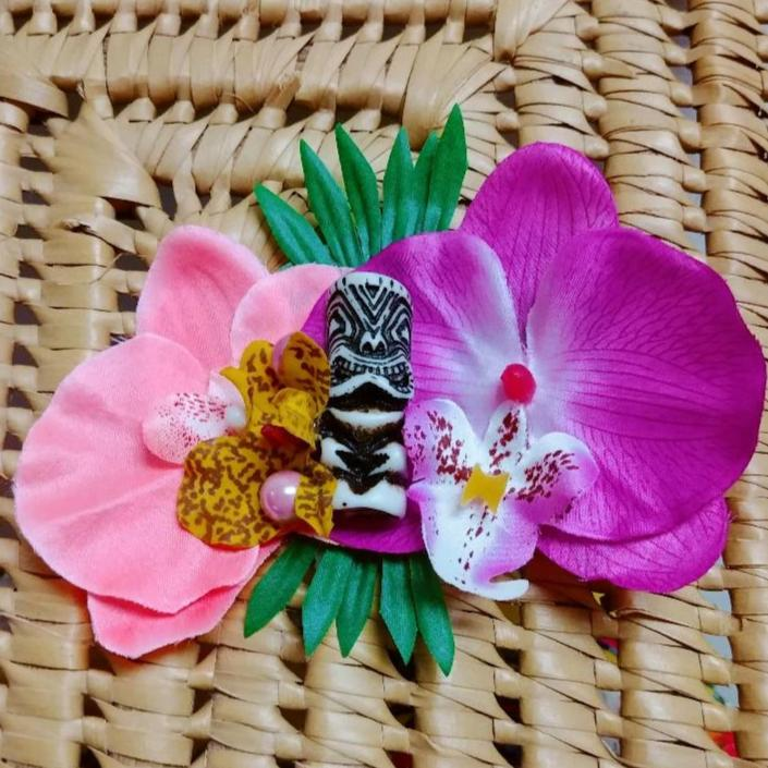 Tropical Tiki Orchid Flower Clip in Coral & Magenta