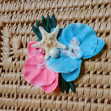 Tropical White Starfish Orchid Flower Clip in Coral & Aqua