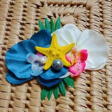 Tropical Starfish Tiki Orchid Flower Clip in Royal & White