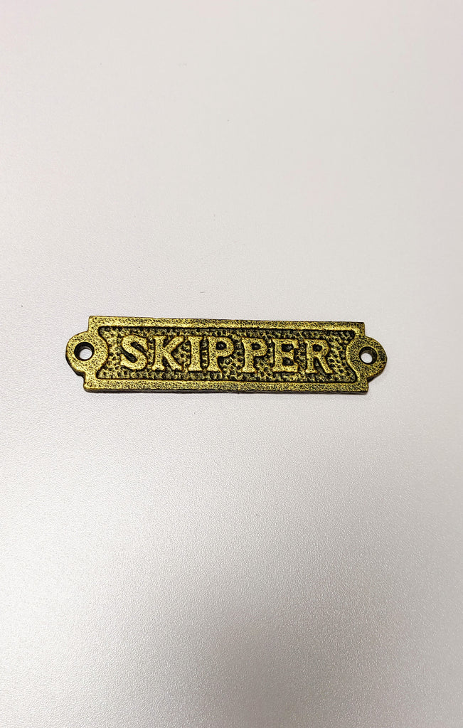 Gold Cast Iron Skipper Door Sign