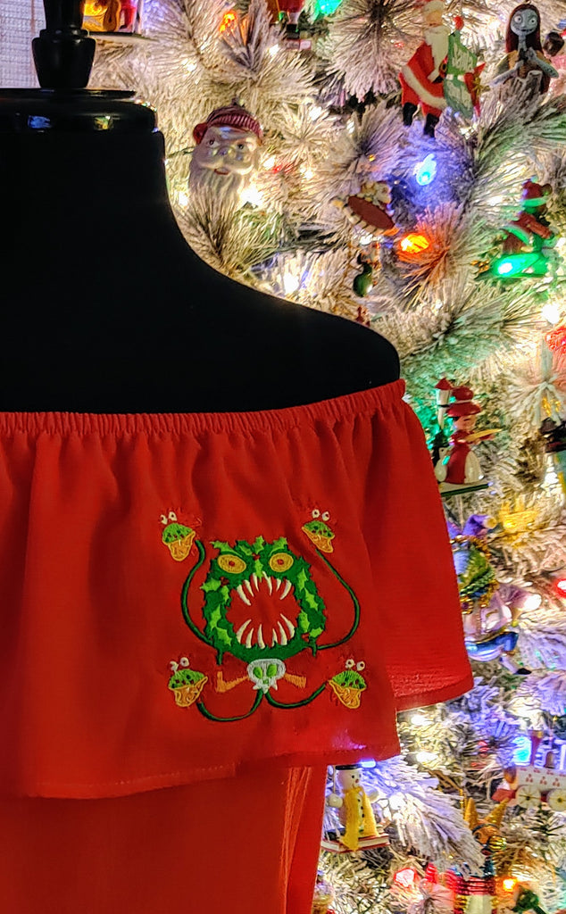Merry Scary Christmas Wreath Embroidered Flounce Top in Red