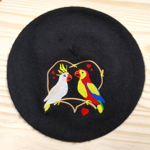 Love Birds Embroidered Beret Hat in Blue