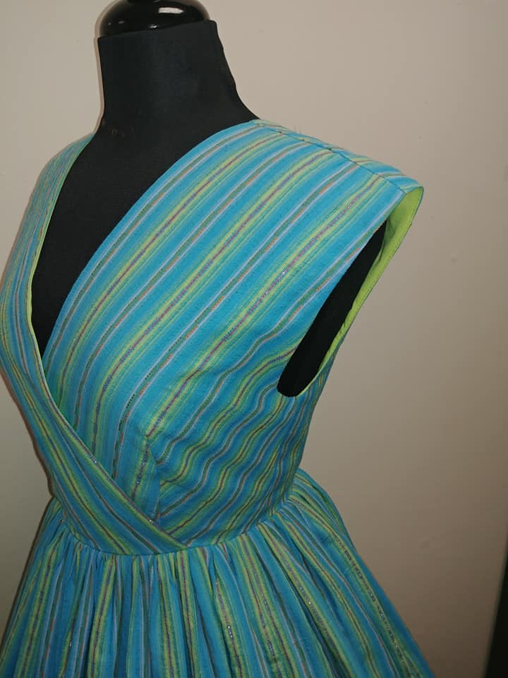 Lurex Serape Stripes Jolene Patio Dress in Cyan Blue