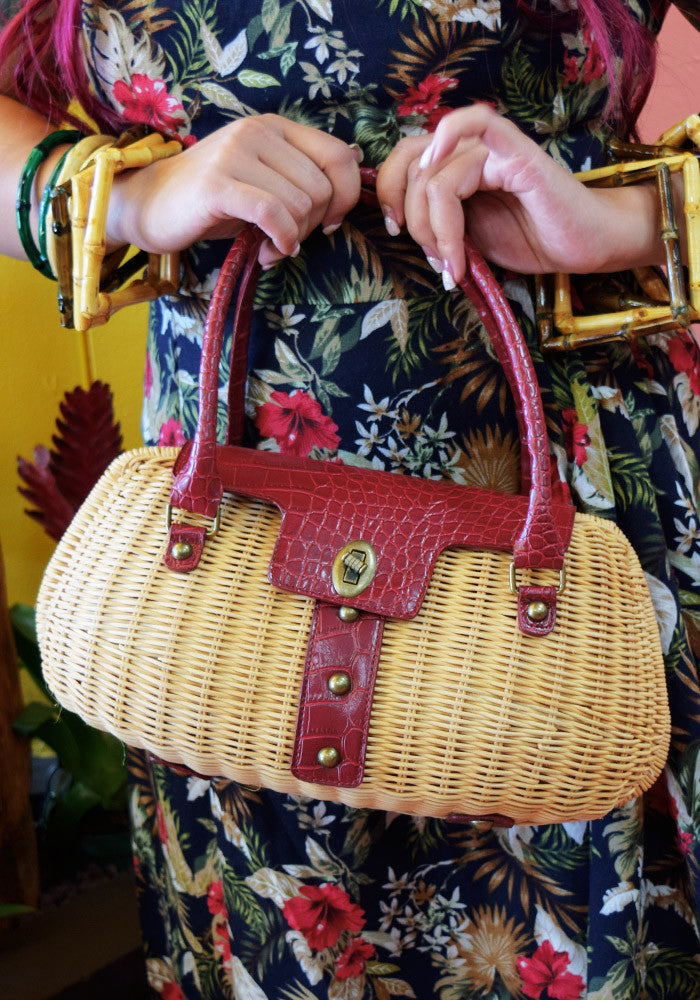 Lola Tiki Cocktail Handbag in Brick Red