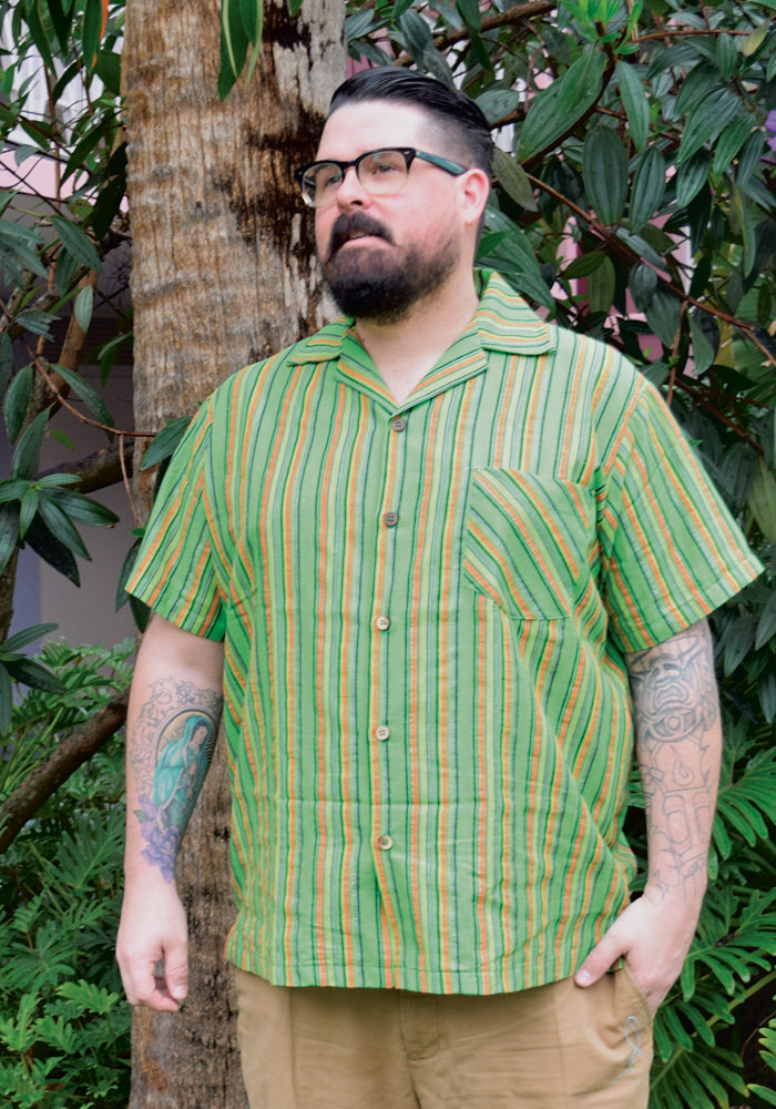 Lurex Serape Stripe Paradise Button-Up Relax Fit Shirt in Green
