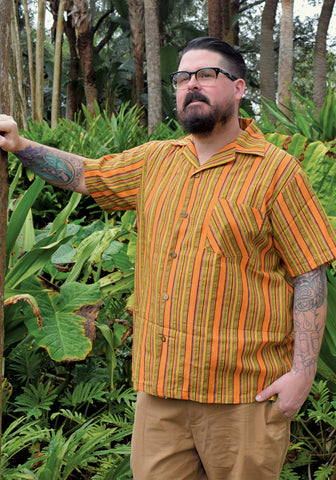 Abstract Havana Hibiscus Paradise Button-Up Shirt in Tobacco