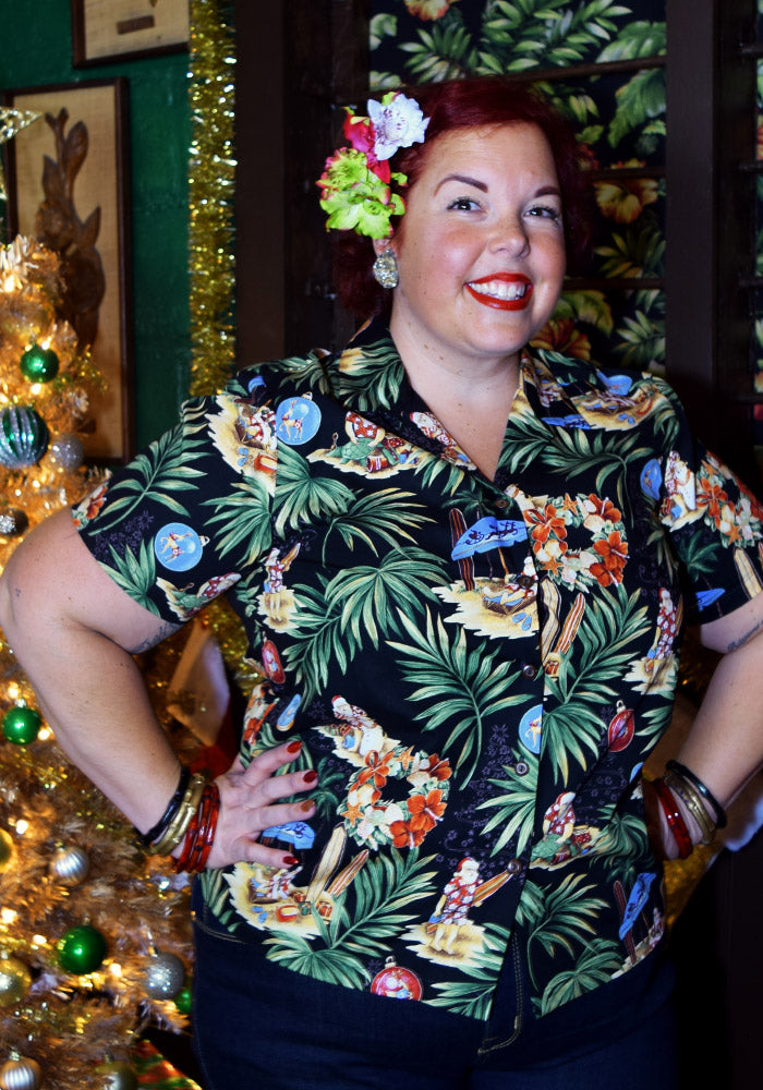 """Final Sale"" Christmas 2017 Holiday Authentic Ladies Hawaiian Shirt, Black"
