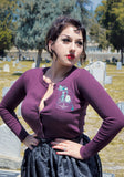 Haunted Hitchhikers Embroidered Cardigan in Purple