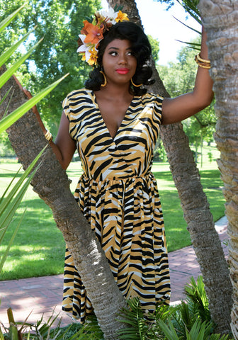 Bali Tropical Tiger Print Romper Jumpsuit