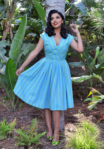 Tropical Fish Retro Peggy Peasant Swing Dress, in Royal Blue