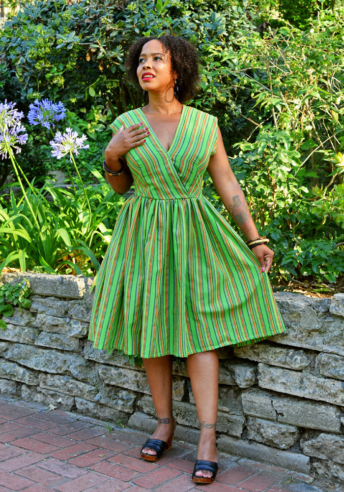"""Final Sale"" Lurex Serape Stripes Jolene Patio Dress in Green"