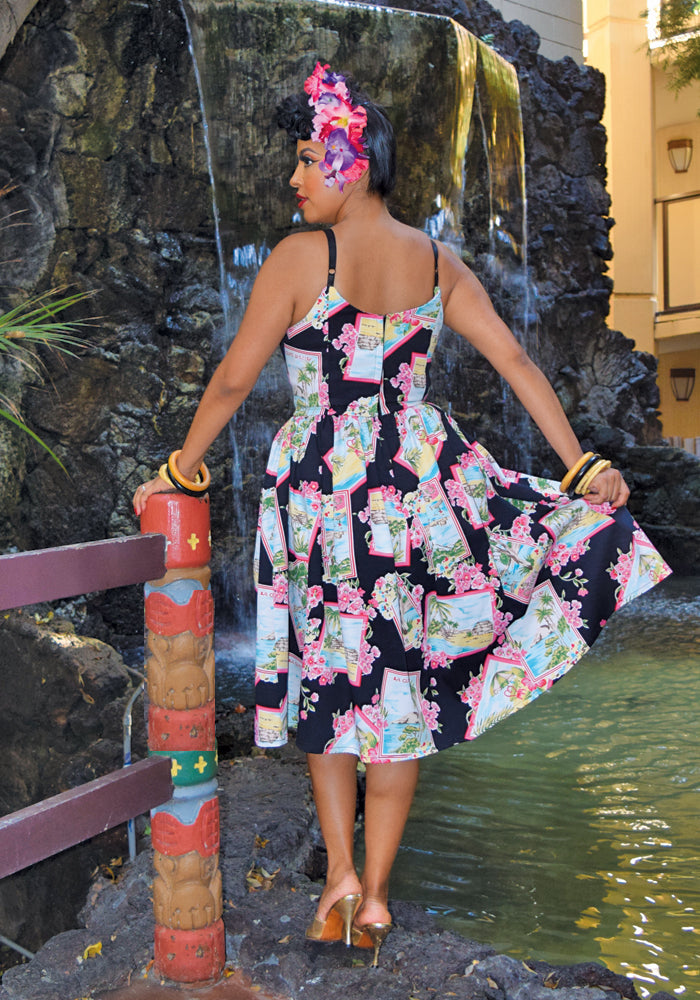 """Final Sale"" Painted Postcards Jinger Sweetheart Dress (Off Print Placement on Bodice)"