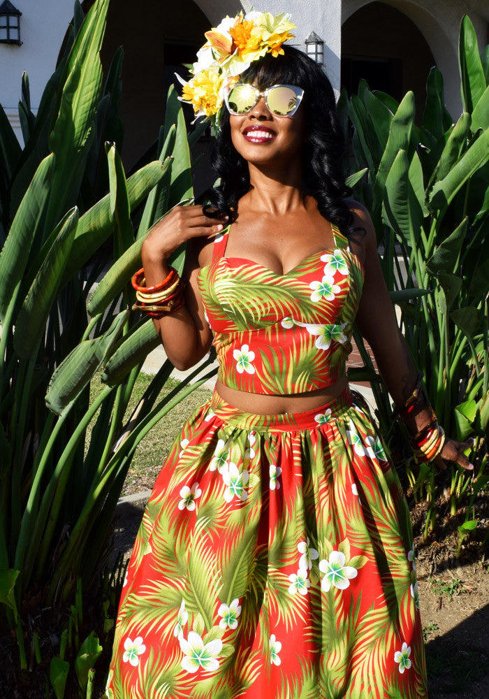 Plumeria Passion Beverly Gathered Tiki Skirt in Red