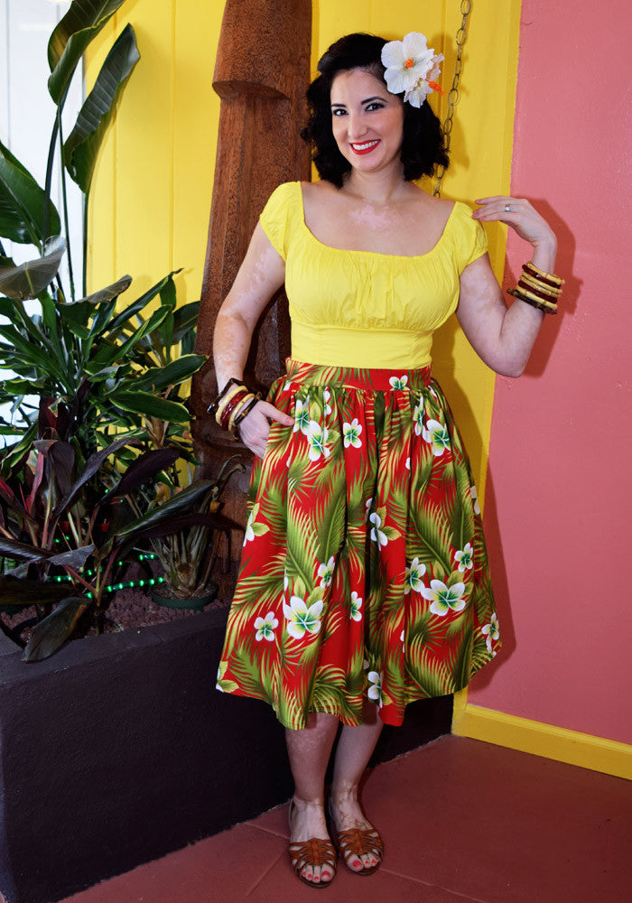 Plumeria Passion Beverly Gathered Skirt in Red