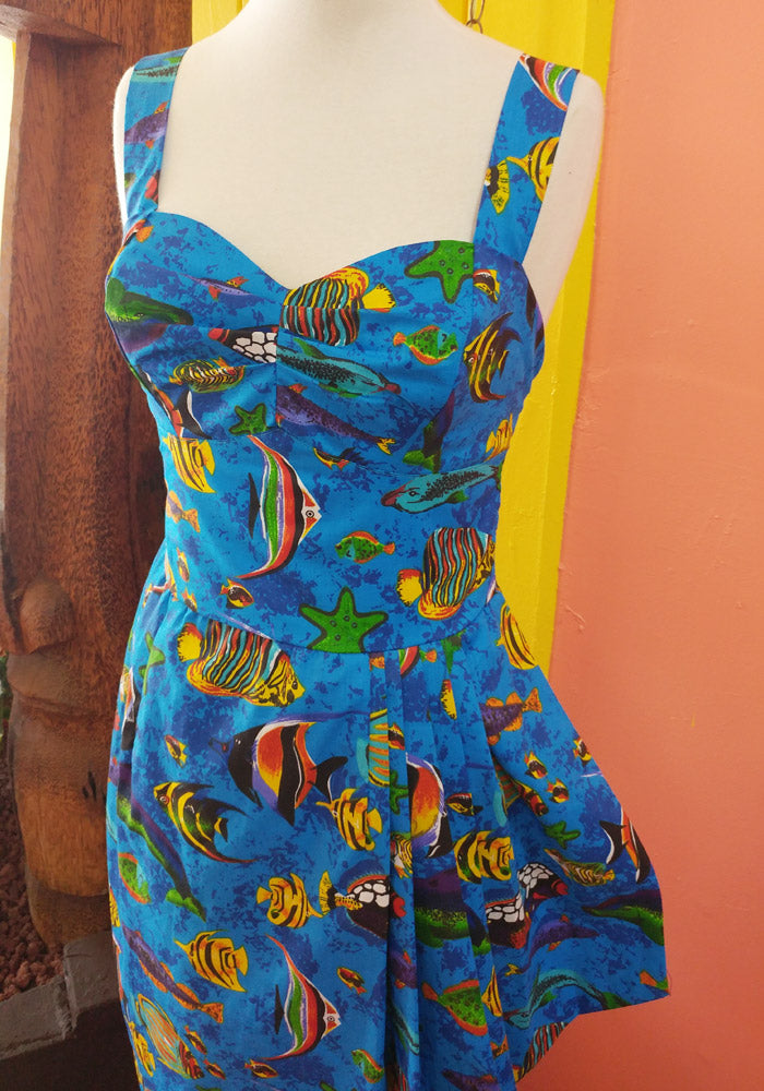 """Final Sale"" Tropical Fish Sonia Sarong Dress in Blue"