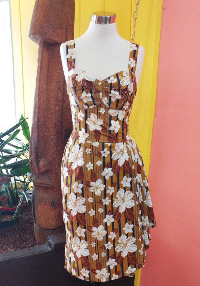 """Final Sale, DAMAGED"" Abstract Havana Hibiscus Sonia Sarong Dress in Tobacco (BROKEN ZIPPER)"