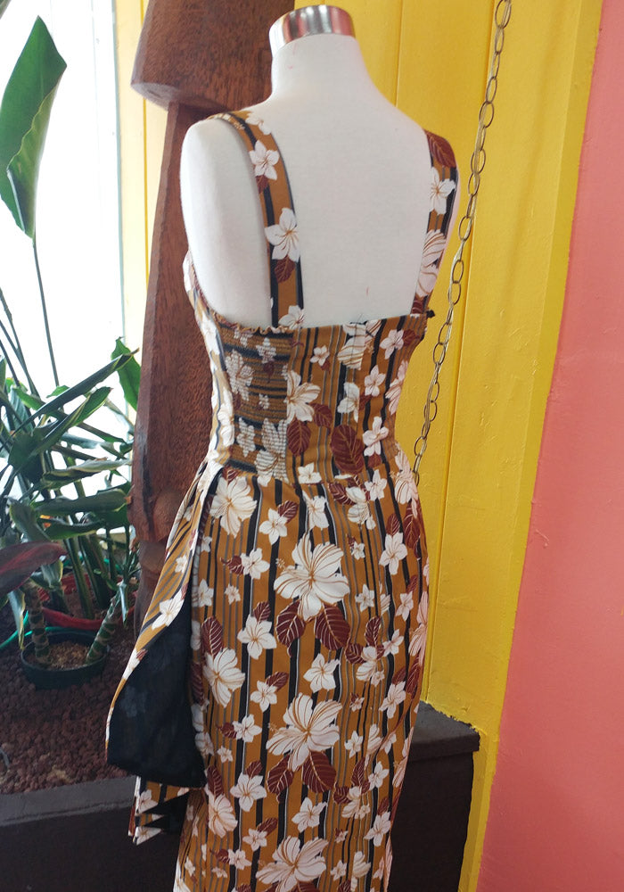 """Final Sale"" Abstract Havana Hibiscus Sonia Sarong Dress in Tobacco"