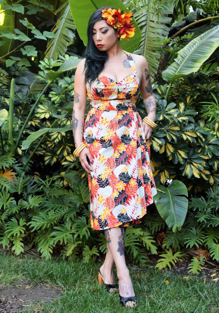 """Final Sale"" Palm Jungle Sonia Sarong Dress in Red"