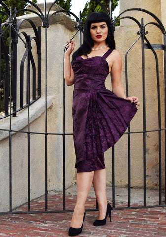 """Final Sale, DAMAGED""  Temptress Rose Sonia Sarong Dress in Eggplant  (BROKEN ZIPPER)"