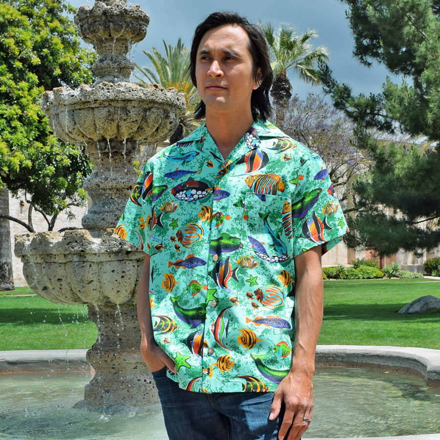 Tropical Fish Paradise Button-Up Shirt in Aqua