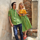 Lurex Serape Stripe Paradise Button-Up Shirt in Green